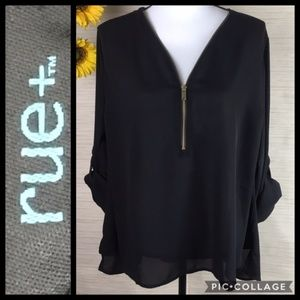Rue+ Sheer Black Blouse with Zipper Chest Detail